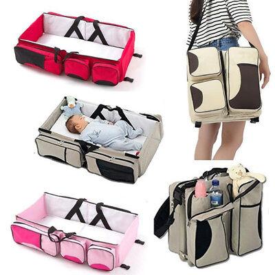 Foldable Baby Bed Travel Bag Portable Bassinet Diaper Crib Nursery Infant 3In1