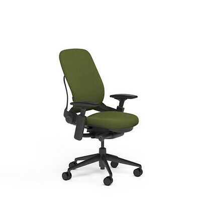 Large Steelcase Leap Plus Adjustable Desk Chair - Buzz2 Ivy Green Fabric 500 Lb
