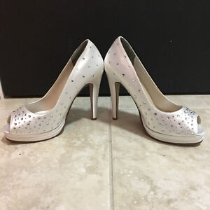"Never Worn! White Gemmed 4.5"" Stiletto High Heels"