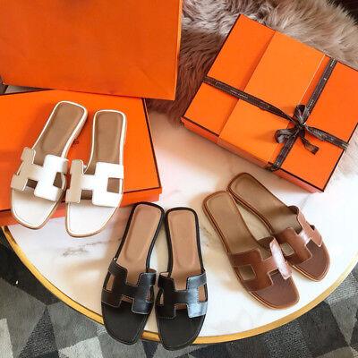 Women's Oran Flat Sandals H Type Real Leather Summer Beach Slippers N02 02 Women Flat Sandals