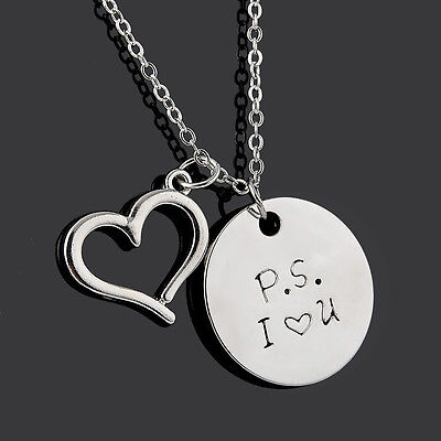 Valentines Day Gift Heart Design P S  I Love You Pendant Silver Chain Necklace