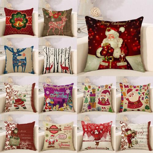 Christmas Pillow Case Santa Cotton Linen Sofa Car Throw Cush