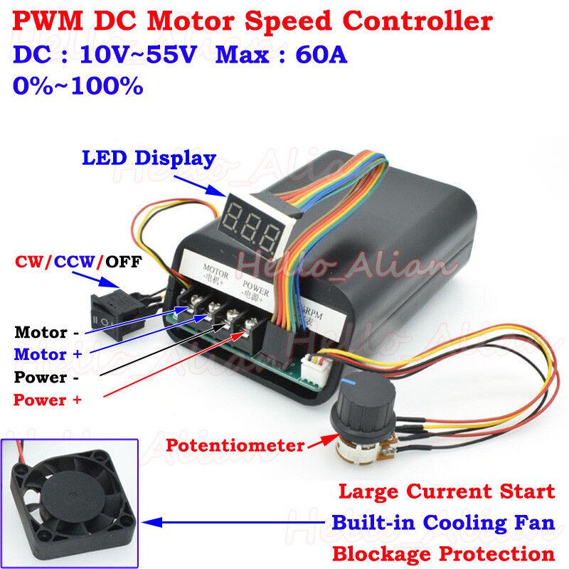 DC 10-55V 12V 24V 48V 60A PWM DC Motor Speed Controller CW CCW Reversible Switch
