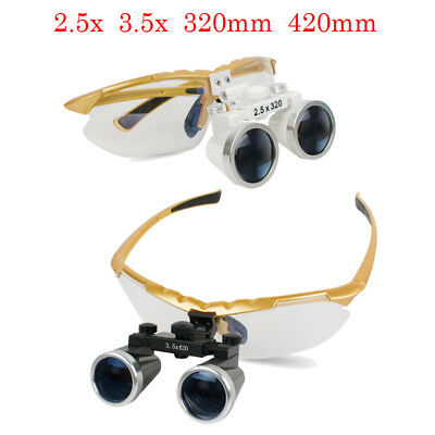 Dental Surgical Loupes Medical Binocular Glasses Magnifier Yellow For Head Light