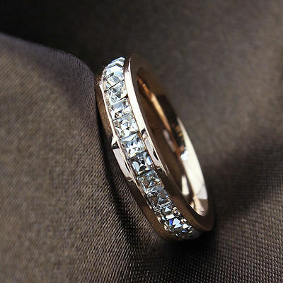 Silver/Rose Gold CZ Titanium Steel Ring Men/Womens Stainless Wedding Band Sz3-10 3 Stone Wedding Band