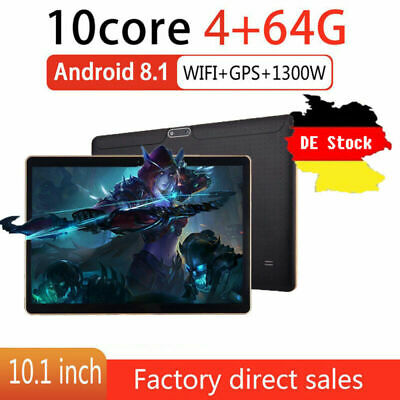 DE 10.1 ZOLL Tablet Android8.1 Bluetooth PC 4+64G ROM 2SIM GPS Phone Pad