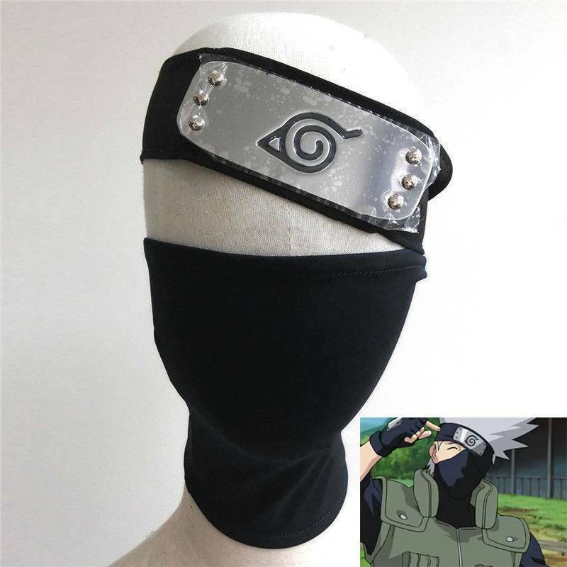 Hot Anime Leaf Village Naruto Hatake Kakashi Cosplay Mask + Ninja Headband Set