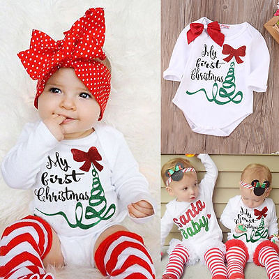Newborn Baby Girl Rompers Bodysuit Jumpsuit My First Christmas Outfits Us Stock