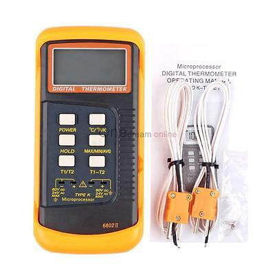 Dual Channel 2 K-type Digital Thermometer Thermocouple Sensor 250 Probes Meter