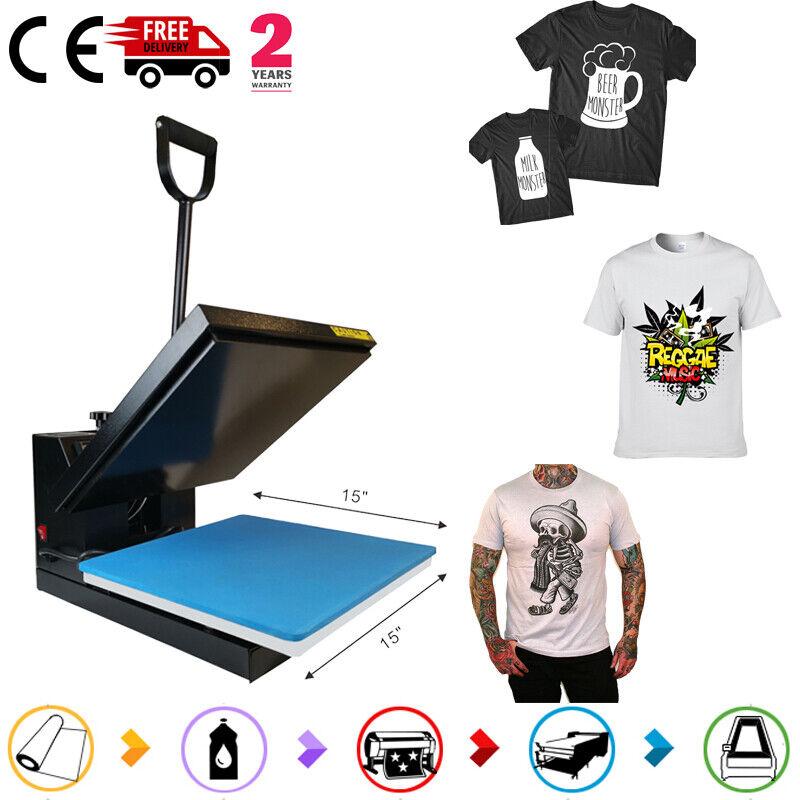 "Digital Clamshell 15""X15""Transfer Sublimation Heat Press Machine DIY T-Shirt"