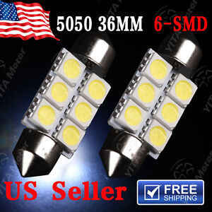 2 X White 36MM 5050 6SMD Festoon Dome Map Interior LED Light bulbs C5W 6411 6418