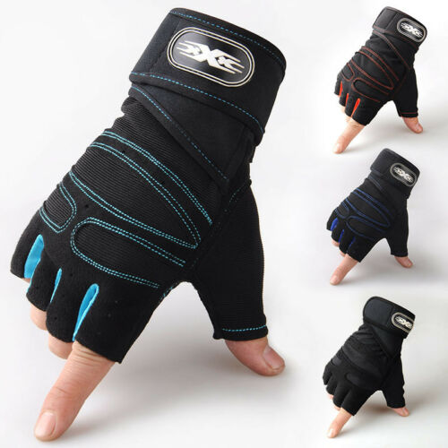 Men's Weight Lifting Gym Gloves Workout Wrist Wrap Sport Exe