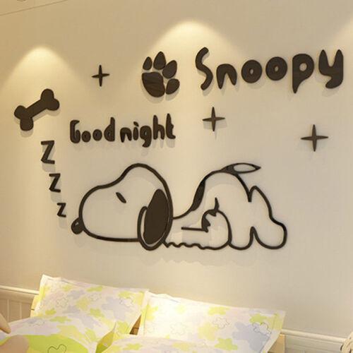 Snoopy Dog 3D Wandaufkleber Dekorative Aufkleber für Schlafzimmer Wandsticker