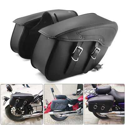Saddle Bags Luggage Bags PU Leather For Touring Sportster XL 883 1200 Waterproof - Leather Road Saddlebag