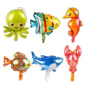 6PCS Lovely Ocean Octopus Shark  Fish Foil Balloons Animal Birthday Party Decor