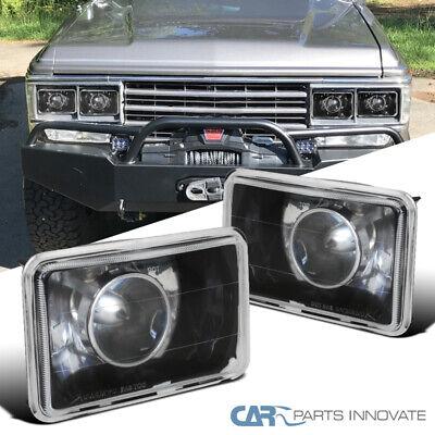 7X6  Square Diamond Projector Headlights Black wH4 Bulbs for 93 94 Toyota Pickup