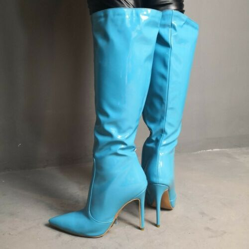 Details about  /Sexy Clubwear Womens Patent Leather Over Knee High Boots Party Pointed Toe Shoes