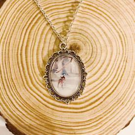 Disney Vintage Bambi Silver Charm Necklace
