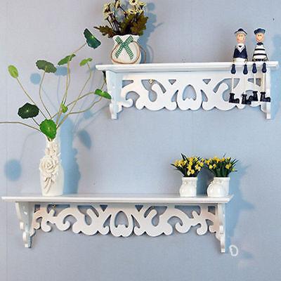 Wood Wall Mount Shelf Display Floating Nesting Decorative Storage Shelves White ()