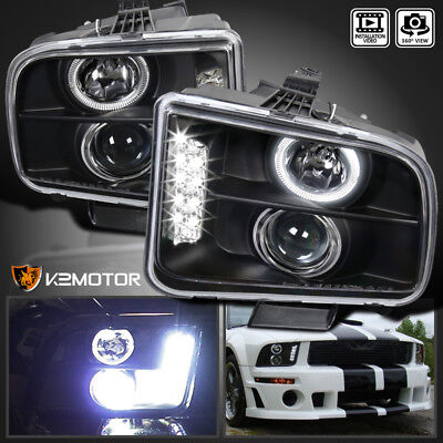 Used, 2005-2009 Ford Mustang LED Projector Headlights Black for sale  Walnut