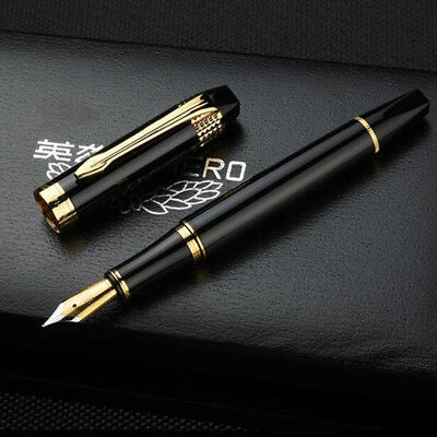 2018 Hero H85 Black Metal China Fountain Pen Medium Push Fine Nib 0.5mm Box Gift