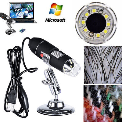 1600x Adjustable Usb Microscope 8 Led Magnification Digital For Win With Stand