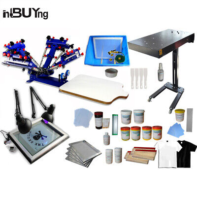 4 Color 1 Station Screen Printing Kit Micro-regadjust Press Machine Ink Supplies