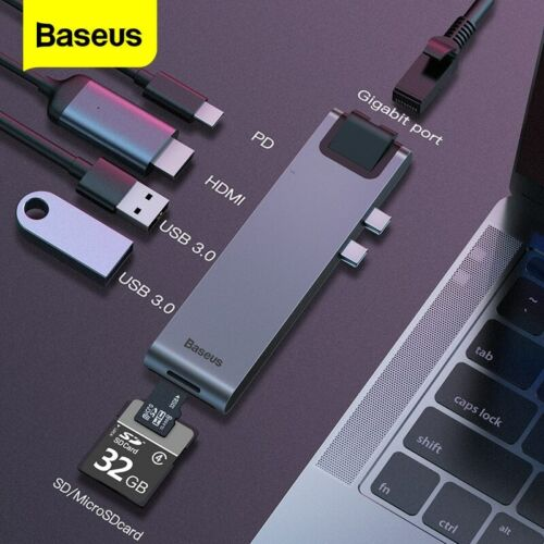 Baseus USB C HUB Type-c to HDMI 4K RJ45 Adapter SD/TF Card Reader for MacBook
