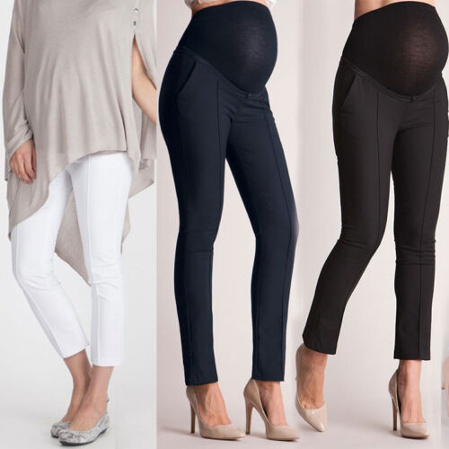 Maternity Pregnancy Trousers For Pregnant Women Work Office Over Bump Pants  Wear | eBay