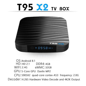 T95X2 4G media box Tv Movies Sports Xbmc/Kodi 18.1 Android