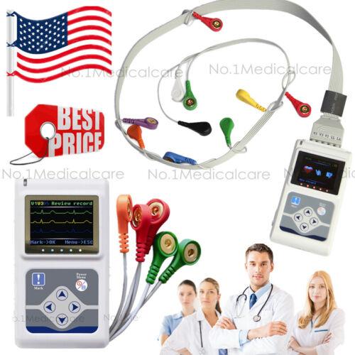 USA Fedex, Dynamic Holter ECG, 3/12 Channel Recorder Analyzer 24h Monitor, pc sw