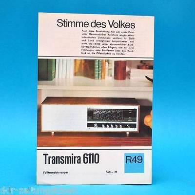 Transmira 6110 Volltransistorsuper 1971 Prospekt Werbung DEWAG Werbeblatt R49 K