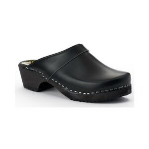 Size 47, Black Leather Swedish Clogs with a wooden footbed.