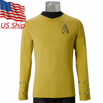 Star Trek TOS Captain Kirk Shirt Uniform Cosplay Costume Yellow Men's Shirt New Captain Kirk Uniform