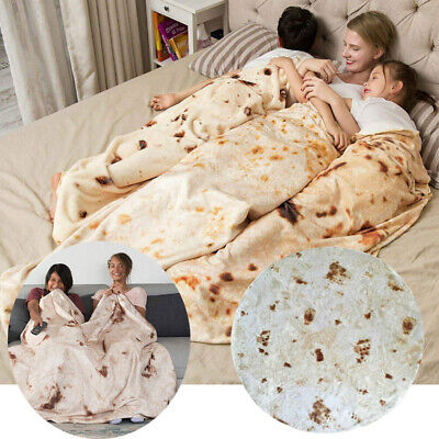 Round Taco Burrito Tortilla Shaped Blanket Soft Flannel Wrap Throw Blanket New
