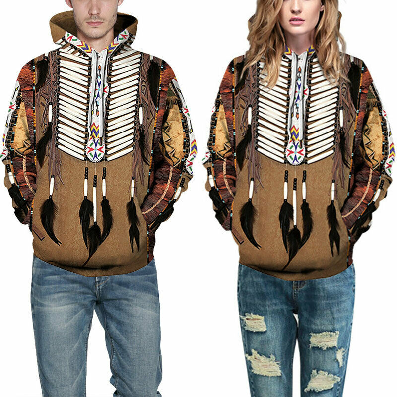 Men Women Couple 3D Floral Indian Feather Wolf Hoodie Sweatshirt Pullover Tops