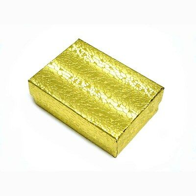 100 Gold Cotton Filled Jewelry Gift Boxes 3 14 X 2 14 X 1