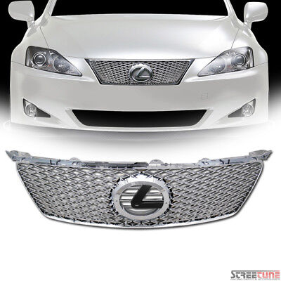 06-08 Lexus Is250/Is350 Chrome IS-F Style Mesh Front Grill Grille w/Emblem Base