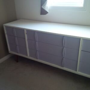 60's style Dresser painted with glass top, drawers work great Kitchener / Waterloo Kitchener Area image 2