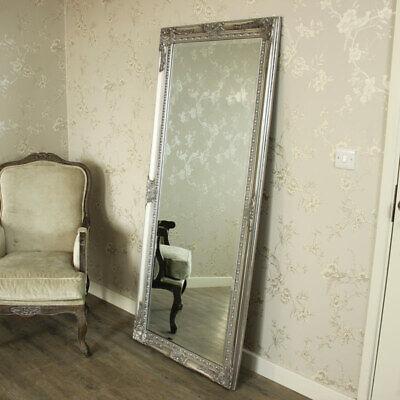 Extra Grande Plata Larga Pared Suelo Espejo Shabby Vintage Chic Dormitorio Casa
