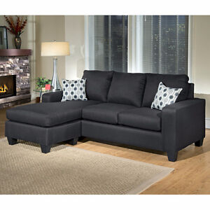 BRAND NEW !! BEAUTIFUL LEATHERETTE SOFA WITH REVERSIBLE CHAISE