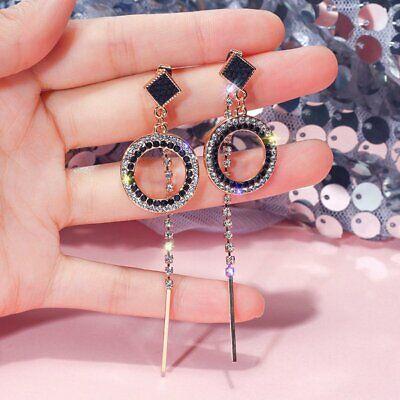 Elegant Black Crystal  Long Tassel Drop Dangle Earrings Women Charm Jewelry Gift - Elegant Black Tassel