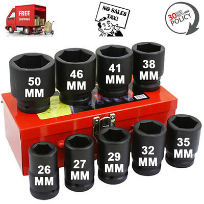 1  One Inch Drive Metric Deep Wheel Jumbo Air Impact Sockets Set Tool 10 Pc