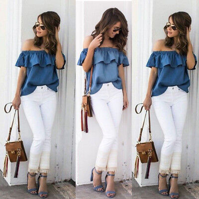US Women's Sexy Summer Off Shoulder Tops Casual Party Shirt Cotton Denim Blouse