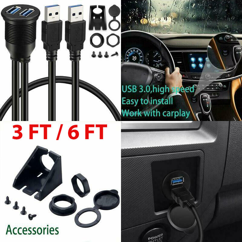 USB 3.0 Male to USB 3.0 Female AUX Flush Mount Car Mount Extension Cable for Car