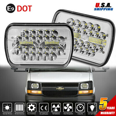 2X 7X6 LED Headlight Sealed Beam Headlamp for Chevy Express Cargo Van Chevrolet -