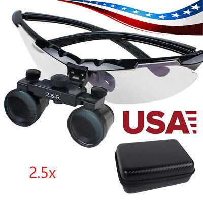 Convenient Dental Surgical Medical Binocular Loupes 2.5x Adjustable Glass Case