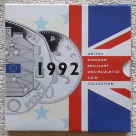EEC 50p 1992/93 coin in 9-coin 1992 Royal Mint year pack