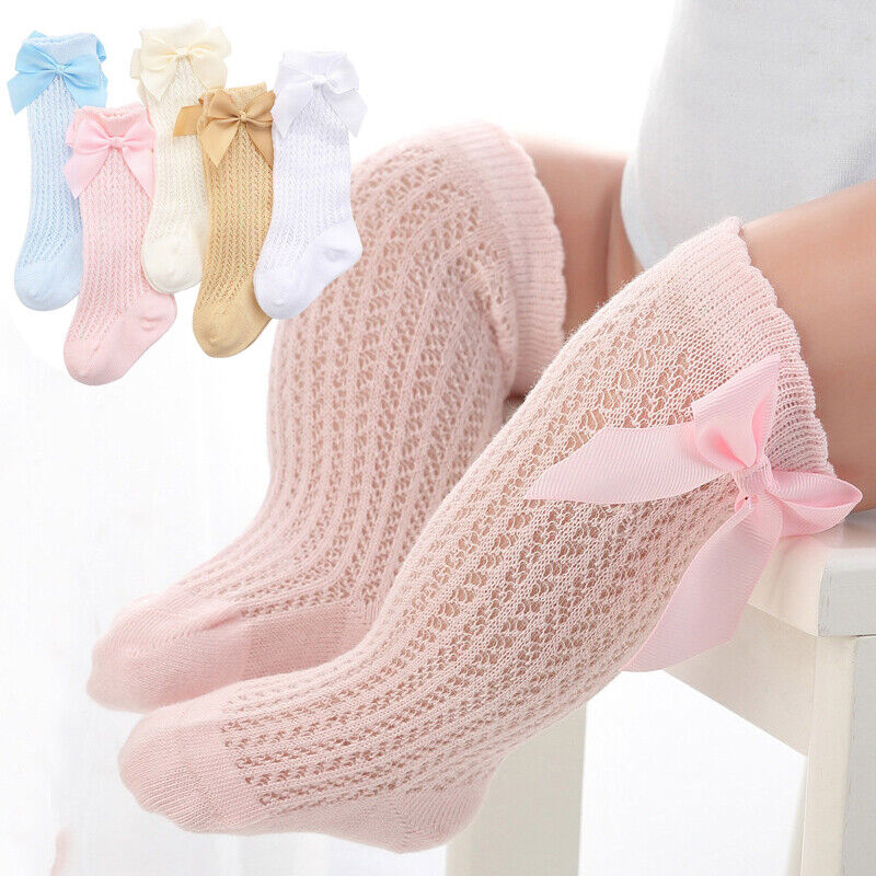 Kids Baby Toddler Girl Spanish Romany Ribbed Bowknot Tights School Soft Socks UK