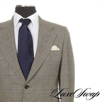 Gieves & Hawkes Savile Row Ecru Black Green Blue Check Glen Plaid 2B 2V Jacket